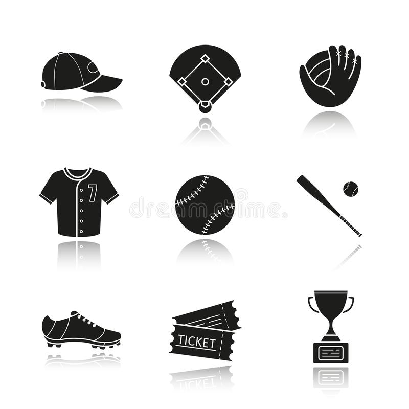 Free Baseball Accessories Drop Shadow Black Icons Set Stock Images - 167000714