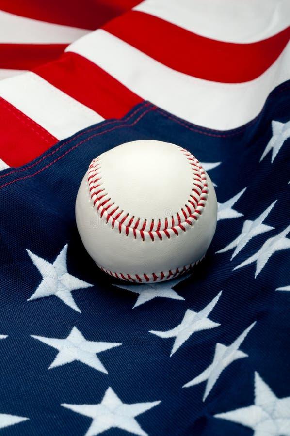 Baseball on the American flag stock images