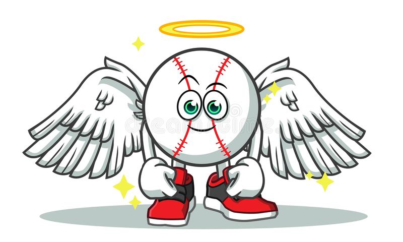 Baseball angel mascot vector cartoon illustration vector illustration