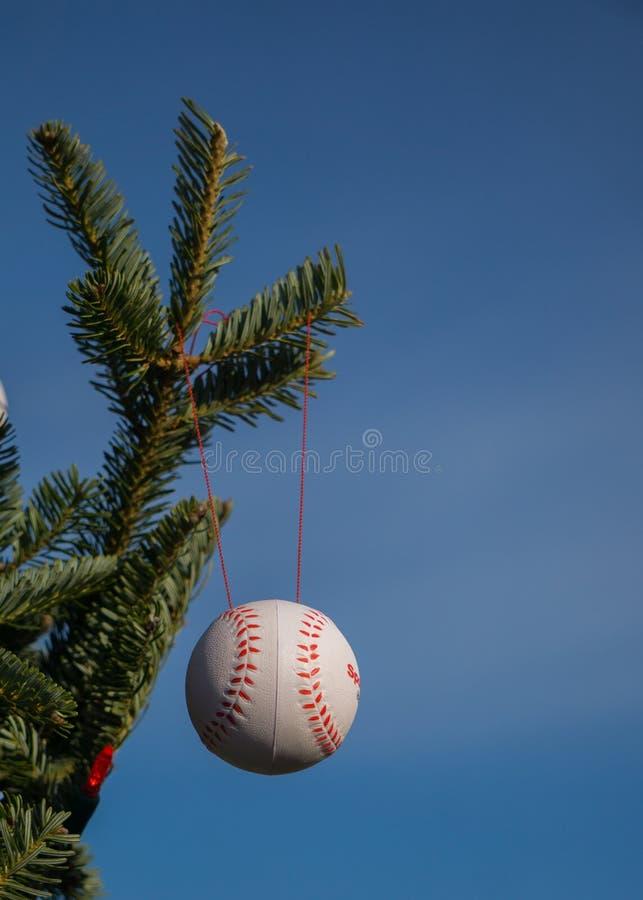 A baseball as Christmas Ornament stock photos