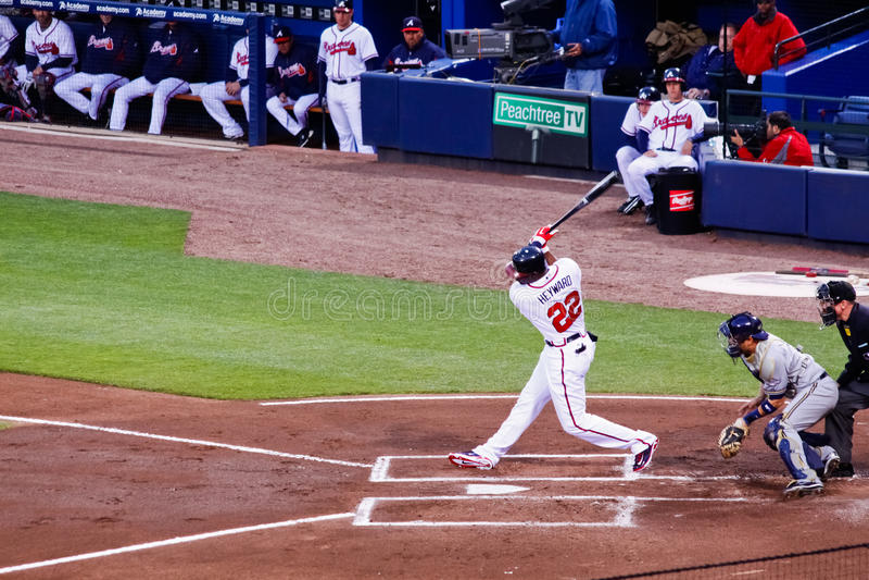 Baseball - Atlanta Braves Jason Heyward Hitting royalty free stock images
