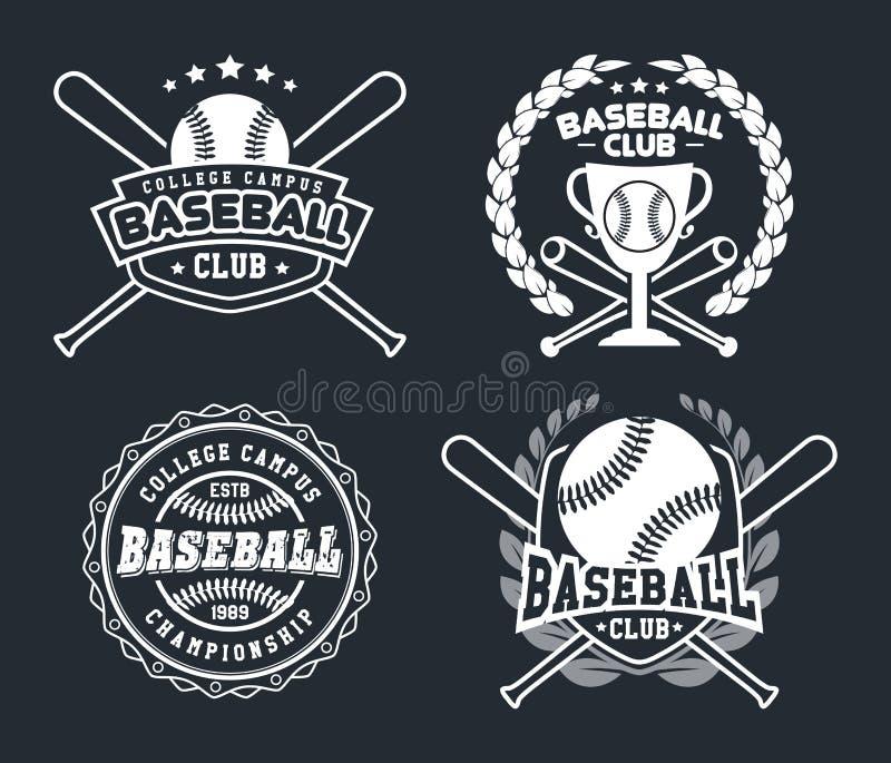 Baseball-Ausweise und Aufkleber, Sport Logo Design stock abbildung