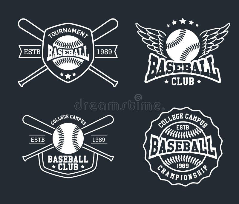Baseball-Ausweise und Aufkleber, Sport Logo Design vektor abbildung
