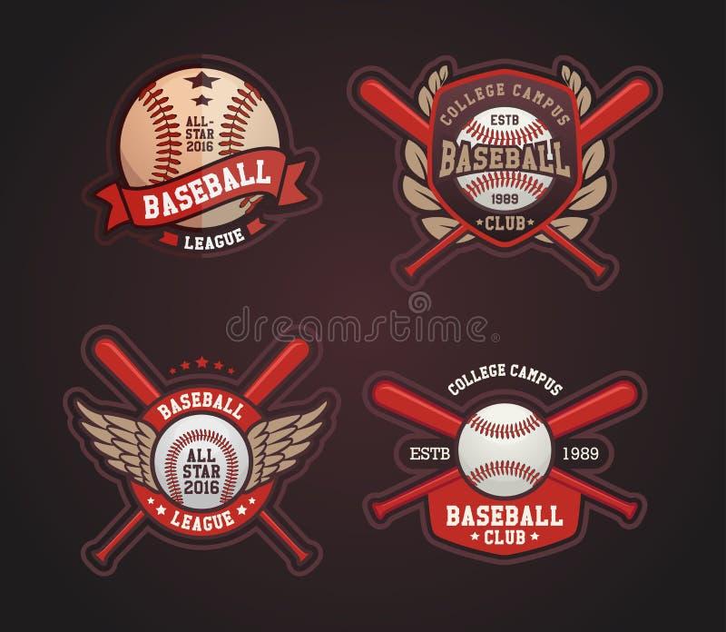 Baseball-Ausweise und Aufkleber, Sport Logo Design lizenzfreie abbildung