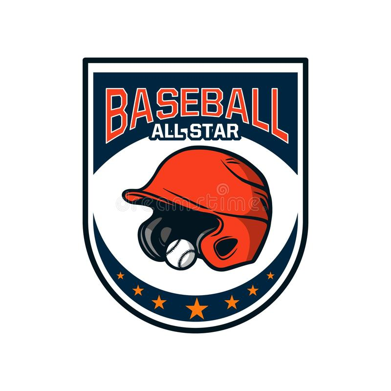 Baseball badge logo emblem template all star helmet and ball royalty free stock photography