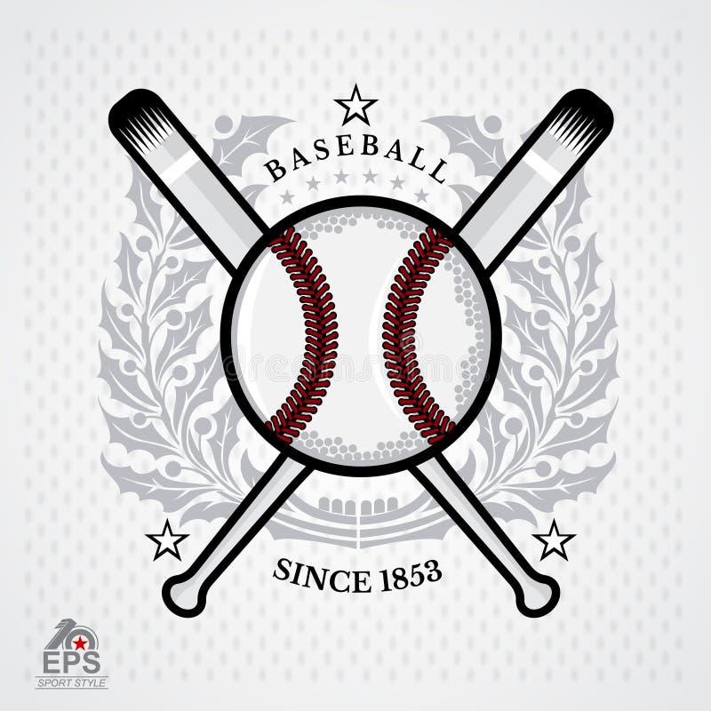 Baseball ball in center of silver wreath on light background. Sport logo. For any team vector illustration