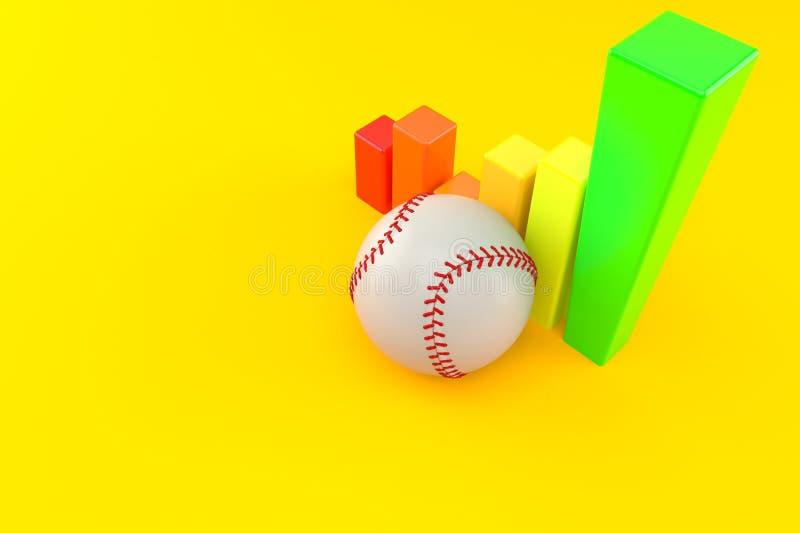 Baseball ball with chart. Isolated on orange background. 3d illustration royalty free illustration