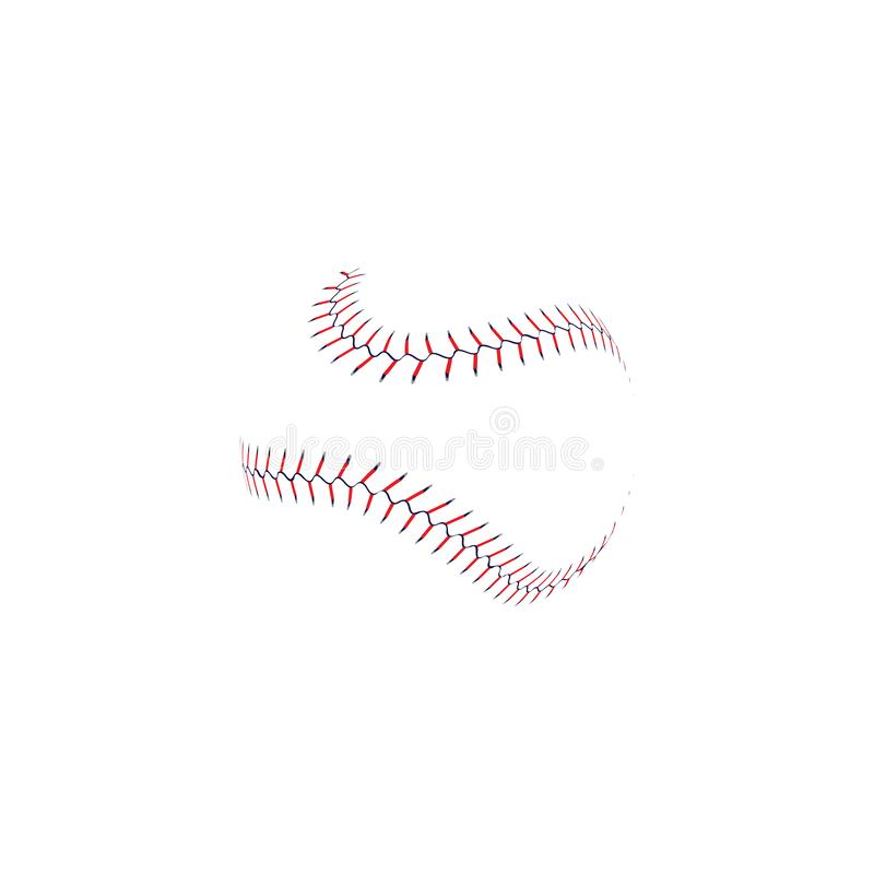 Baseball ball double stitch seam line with realistic lace texture, wavy softball game equipment laces. Isolated on white background, abstract sport symbol vector illustration