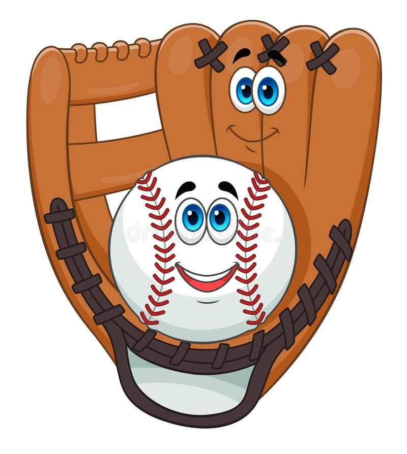 Baseball ball and glove. Cartoon cute baseball ball and glove isolated on white background stock illustration