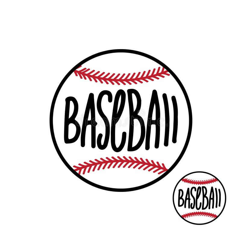 Baseball ball with hand drawn inscription on white background Vector illustration stock illustration
