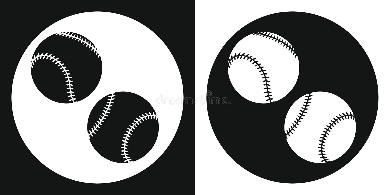 Baseball ball icon. Silhouette baseball ball on a black and white background. Sports Equipment. Vector Illustration. royalty free stock photo
