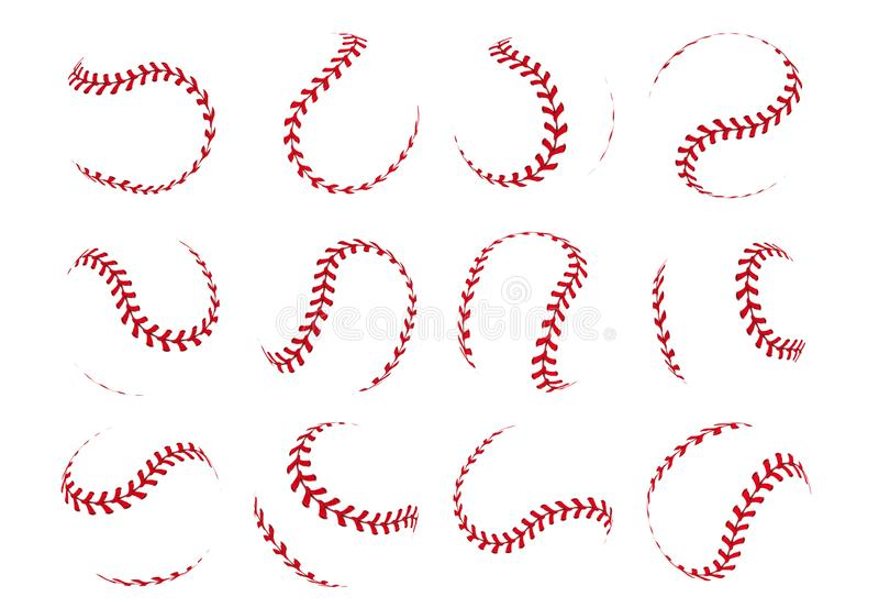 Baseball ball lace. Spherical softball realistic 3D red stroke lines for sport logos and banners. Vector isolated design vector illustration