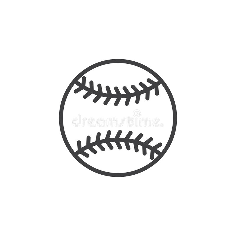 Free Baseball Ball Line Icon, Outline Vector Sign, Linear Style Pictogram Isolated On White. Royalty Free Stock Image - 95982976