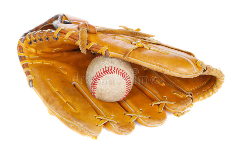 Baseball ball and mit stock photography