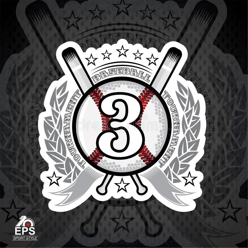 Baseball ball with number three and cross bats. Sport logo for any team. Or competition royalty free illustration