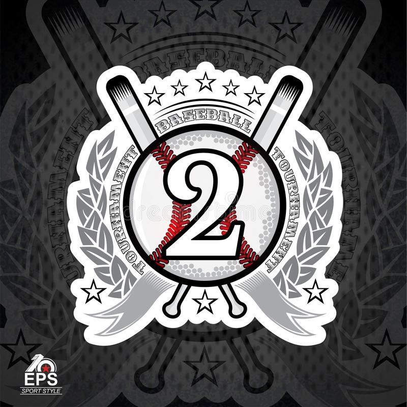 Baseball ball with number two and cross bats. Sport logo. For any team or competition royalty free illustration