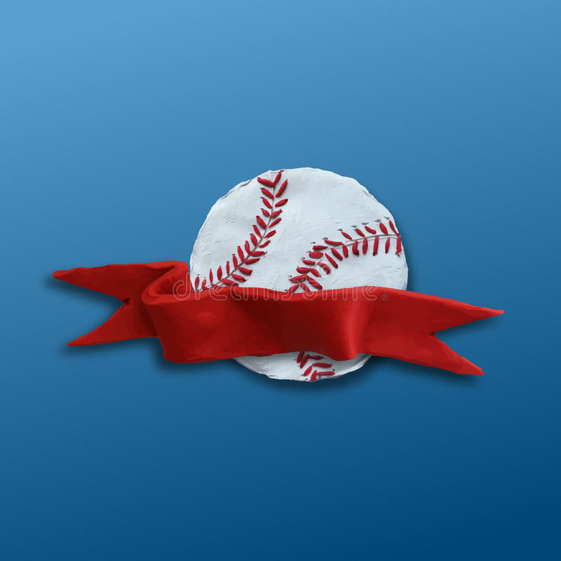 Baseball Ball with red ribbon. Baseball Ball with red stitches and red ribbon . Vector illustration. Plasticine modeling vector illustration