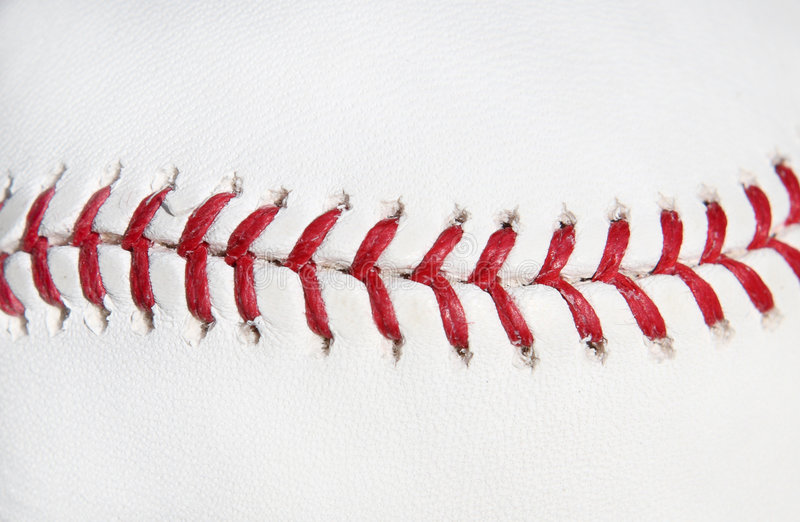 Baseball ball red stitch stock images