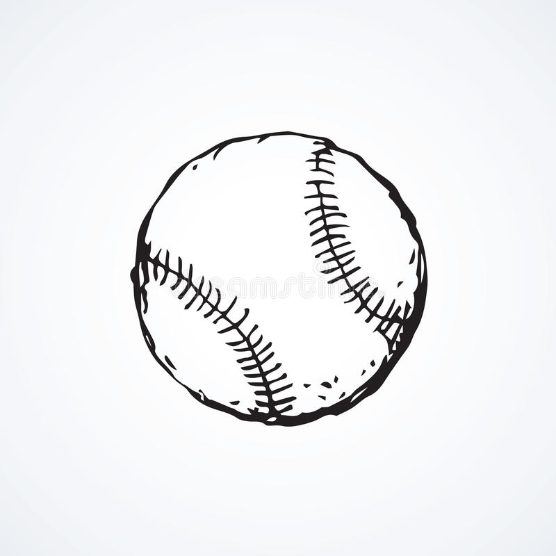 Baseball ball. Vector drawing. American field baserunner mlb on light backdrop. Freehand outline black ink hand drawn picture sketchy in art retro scribble style stock illustration