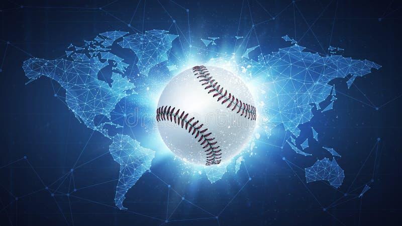 Baseball-Ballfliegen auf Weltkartehintergrund vektor abbildung