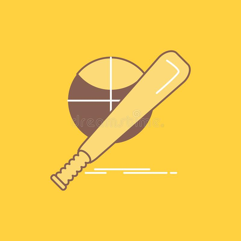 baseball, basket, ball, game, fun Flat Line Filled Icon. Beautiful Logo button over yellow background for UI and UX, website or royalty free illustration