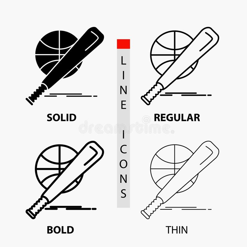 baseball, basket, ball, game, fun Icon in Thin, Regular, Bold Line and Glyph Style. Vector illustration royalty free illustration