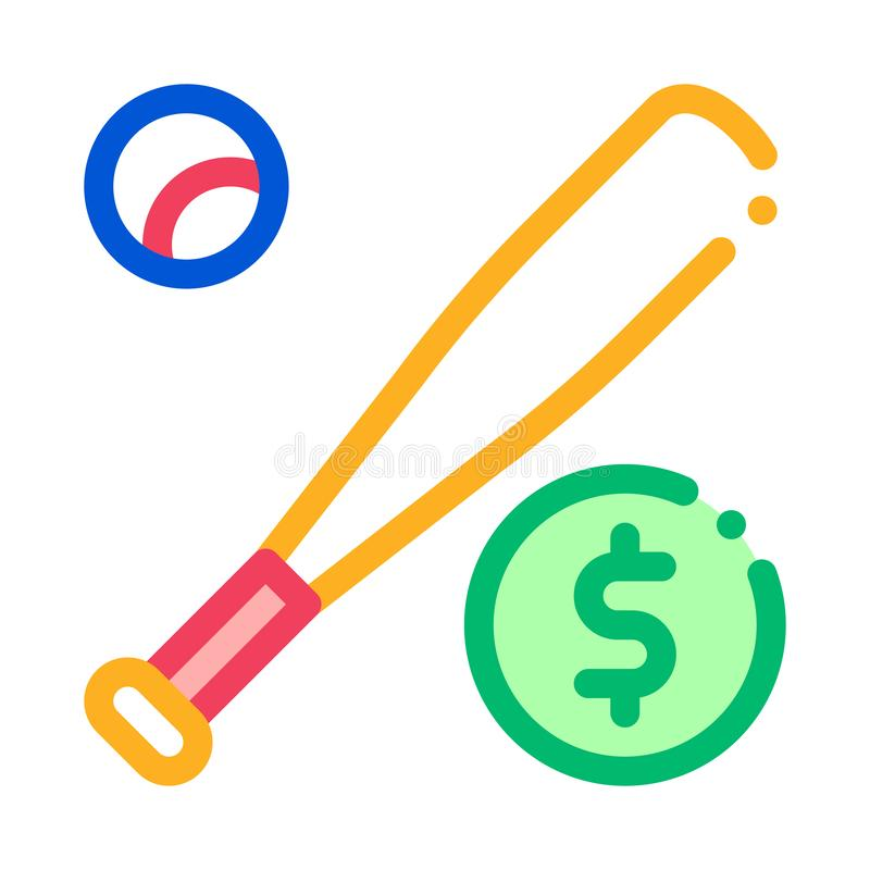 Baseball Bat with Ball Betting Icon Vector Illustration stock illustration