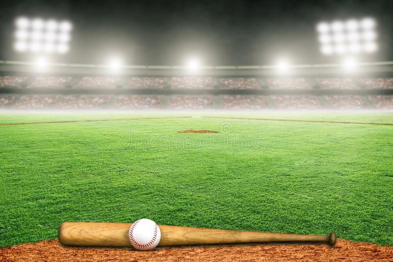 Baseball Bat and Ball on Field in Outdoor Stadium With Copy Space royalty free illustration