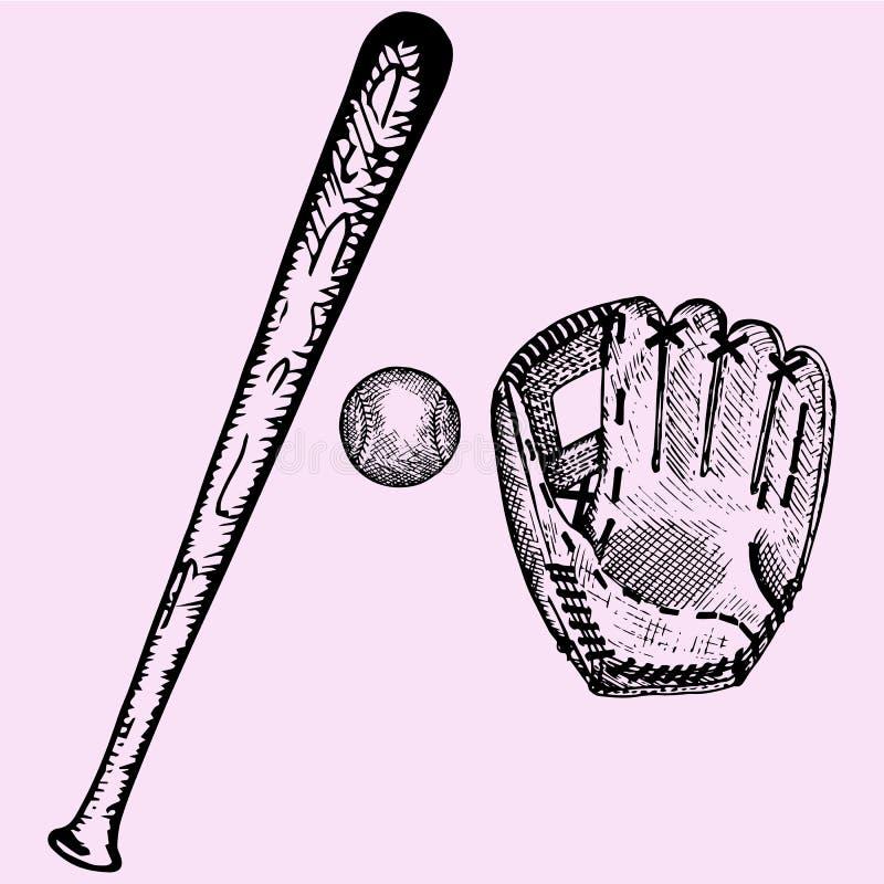 Baseball bat, ball and glove. Set, doodle style, sketch illustration, hand drawn, vector stock illustration
