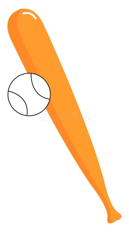 Baseball bat and ball, illustration, vector royalty free illustration