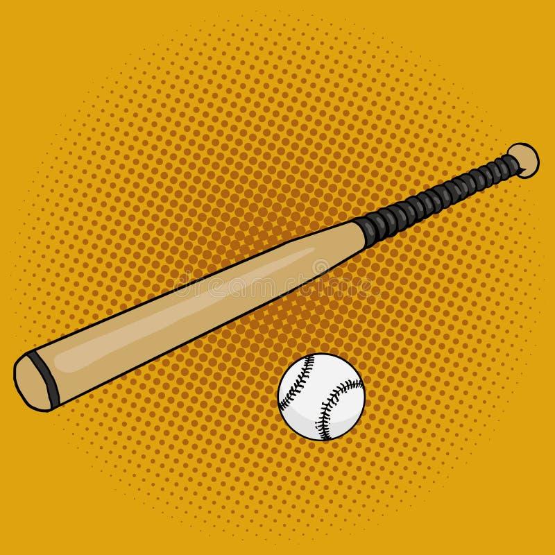 Download Baseball Bat And Ball Pop Art Style Vector Stock
