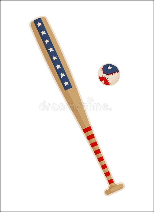 Baseball Bat and Ball with USA Symbols Patterns royalty free illustration
