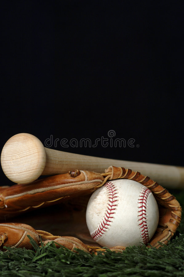 Baseball and Bat on black stock photo
