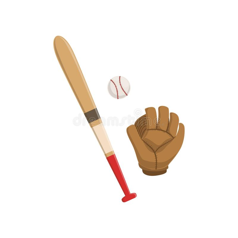 Baseball bat, glove and ball, American football equipment vector Illustration on a white background royalty free illustration