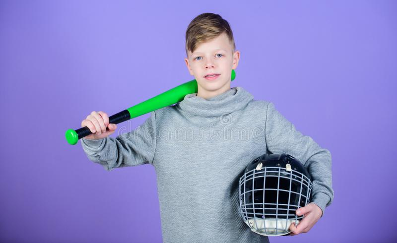 Baseball bat and helmet. Success. Gym workout of teen boy. Sport game. tools for baseball kid. Fitness diet brings. Health and energy. Happy child sportsman stock image