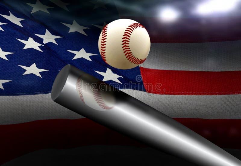 Baseball bat hitting ball with American flag stock images