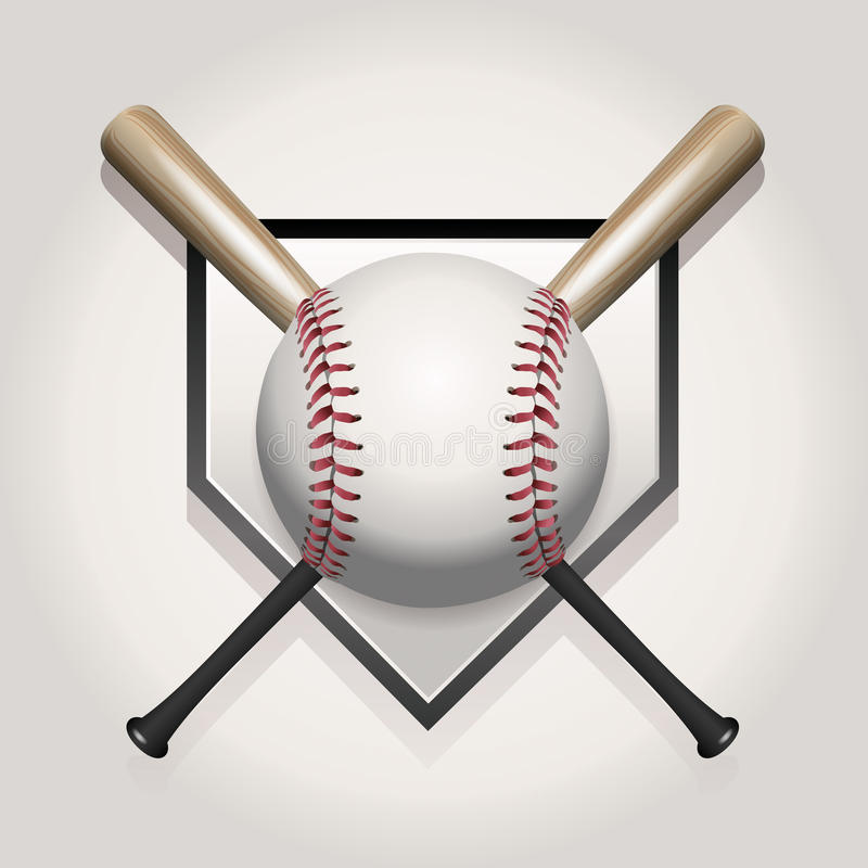 Baseball, Bat, Homeplate Illustration royalty free illustration