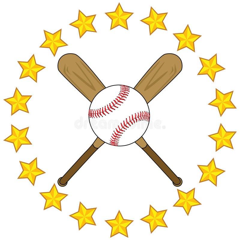 Baseball bats and ball with stars royalty free stock image