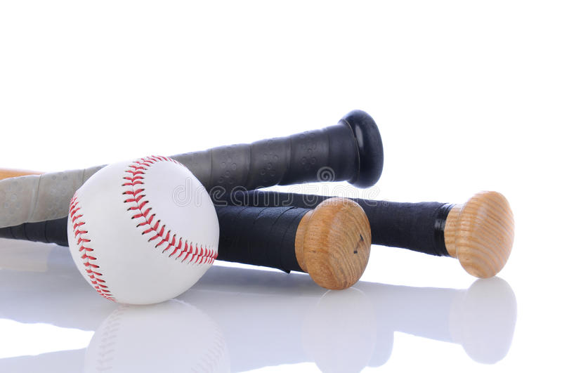 Baseball and bats on white with reflection royalty free stock image