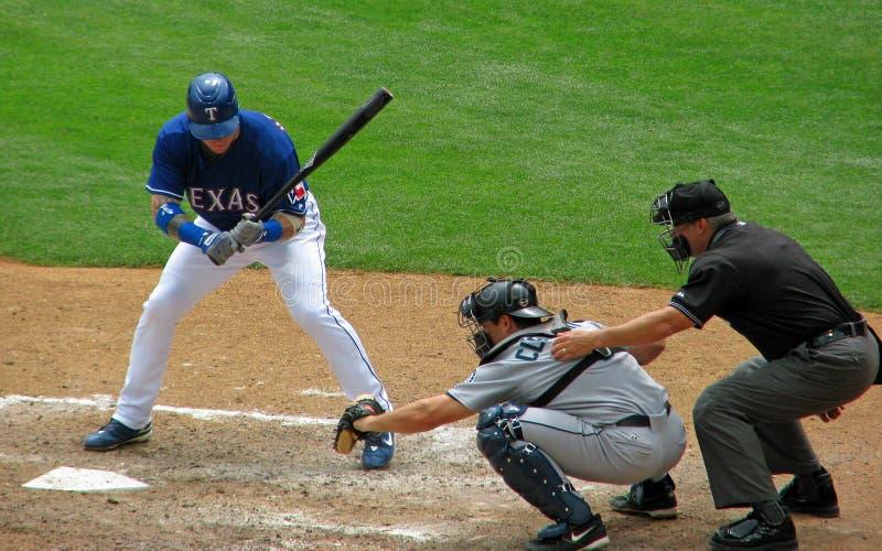 Baseball Batter Catcher and Umpire stock image