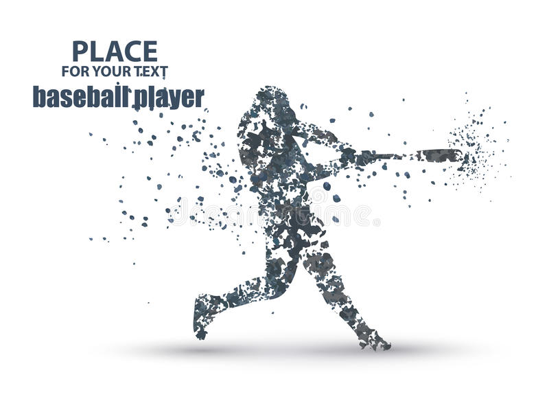Baseball Batter Hitting Ball, particle divergent composition royalty free illustration