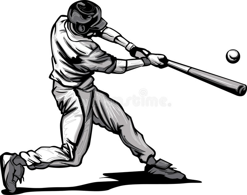 baseball batter hitting pitch vector image stock vector rh dreamstime com Baseball Silhouette Vector Baseball Cap Vector