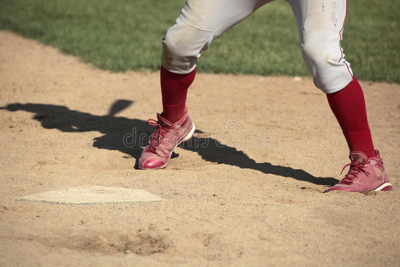 Baseball batter at home plate royalty free stock image