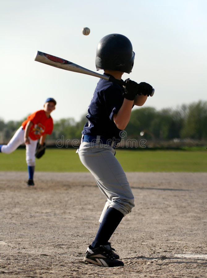 Baseball batter and pitcher stock image