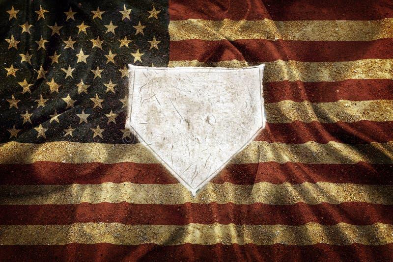 Baseball bazy domowej bazy Homeplate sportów rywalizacji Balowa Amerykańska flaga obraz royalty free