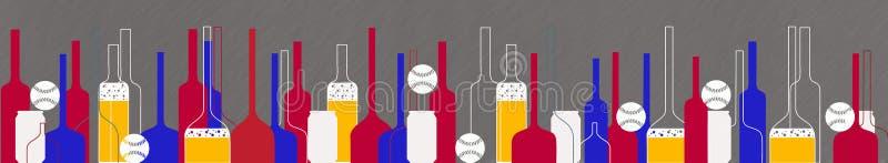 Baseball and beer bottles and glasses. Illustration vector illustration