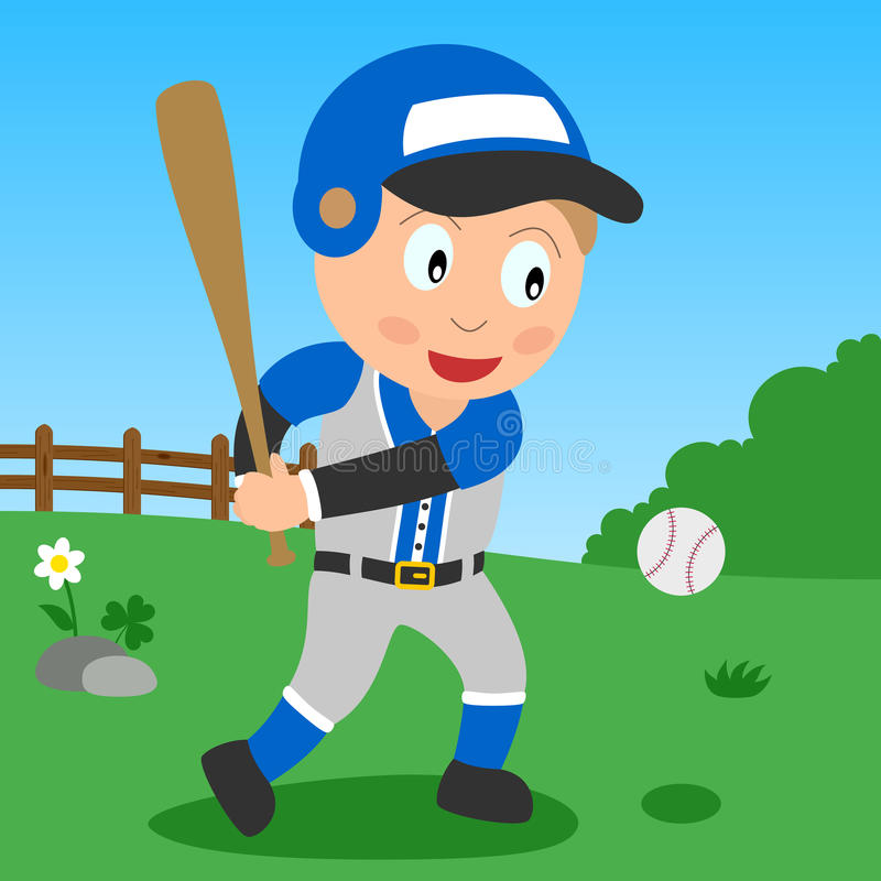 Baseball Boy in the Park. Kids and sport series: a boy playing baseball in a park. Eps file available