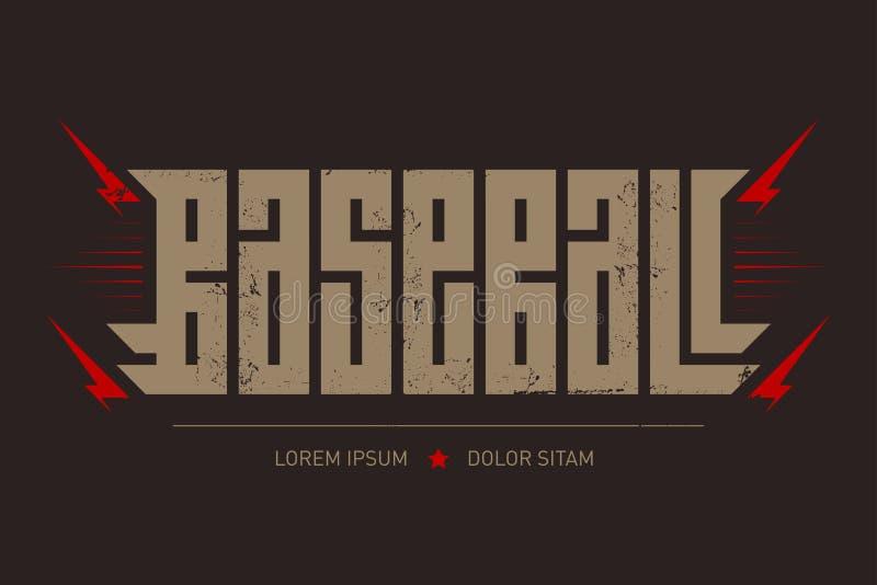 Baseball - brutal font for labels, headlines, posters or t-shirt print. Horizontal label.  stock illustration