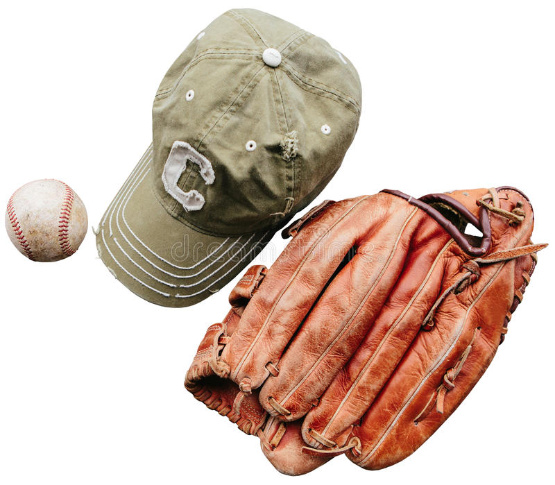 Baseball cap, ball and glove. Isolated on white background stock photos