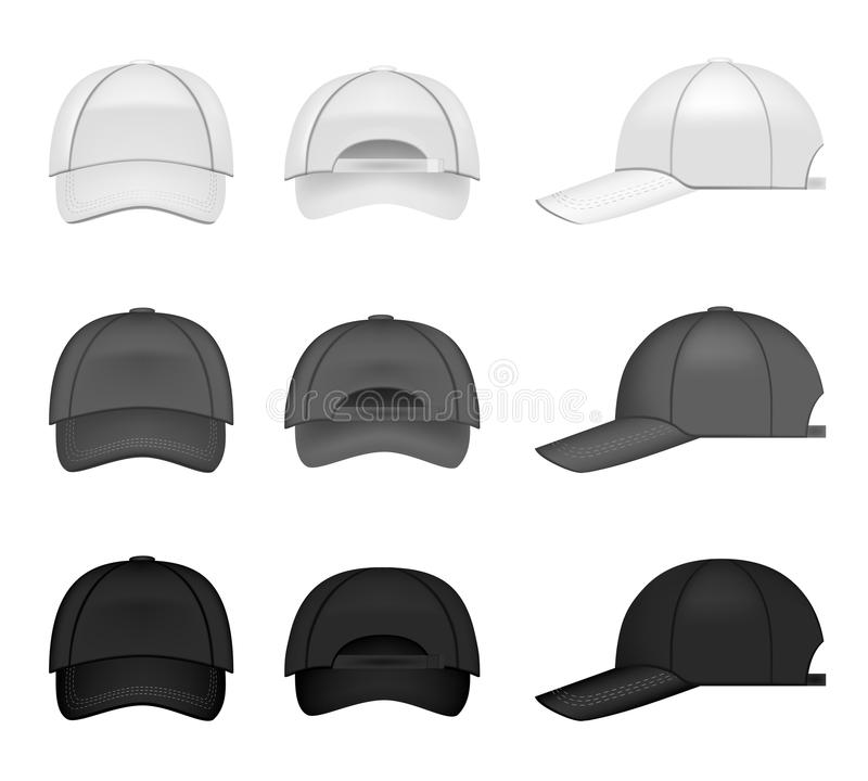 Baseball caps collection. Set of baseball caps, three different colors from all angles vector illustration